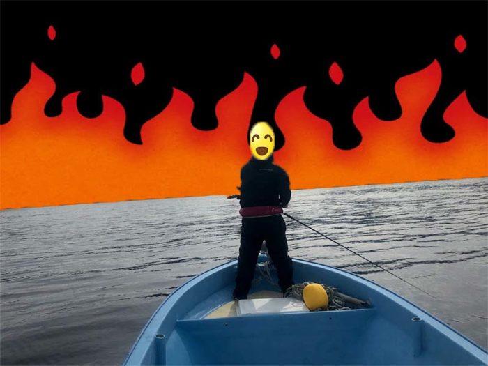 キャスティングで燃える釣り人